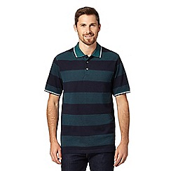 Maine New England - Green block striped pique polo shirt