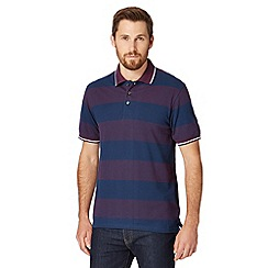 Maine New England - Big and tall plum tipped block striped polo shirt