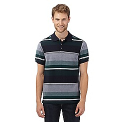 Maine New England - Big and tall dark green striped polo shirt