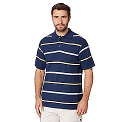 Maine New England - Mid blue cotton striped polo shirt