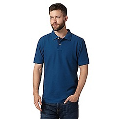 Maine New England - Dark blue plain pique polo shirt