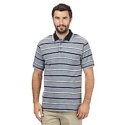 Maine New England - Navy striped contrast polo shirt