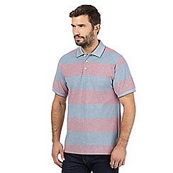 Maine New England - Blue striped textured collar polo shirt