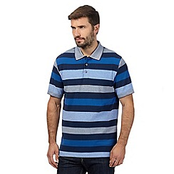 Maine New England - Mid blue striped polo shirt