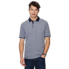 Maine New England - Navy birds eye contrast collar polo shirt