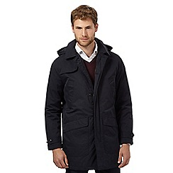 Maine New England - Big and tall navy shower resistant quilted mac coat