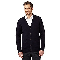 Maine New England - Big and tall navy plain knitted cardigan
