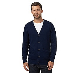 Maine New England - Big and tall dark blue plain knitted cardigan