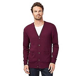 Maine New England - Big and tall dark purple button cardigan