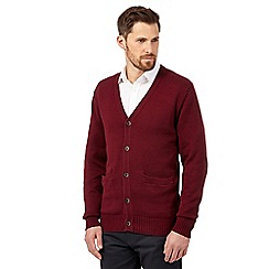 Maine New England - Big and tall maroon plain knitted cardigan