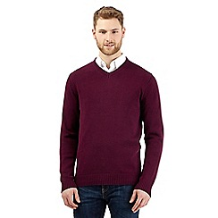 Maine New England - Big and tall plum knitted v neck jumper