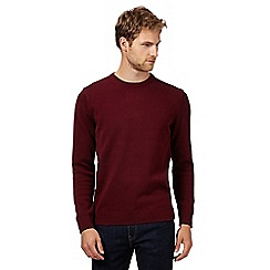 Maine New England - Maroon ribbed crew neck jumper