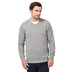 Maine New England - Grey plain V neck jumper