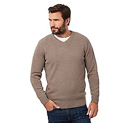Maine New England - Big and tall fawn knitted v neck jumper
