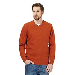 Maine New England - Big and tall dark orange v neck jumper