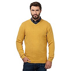Maine New England - Big and tall dark yellow v neck jumper