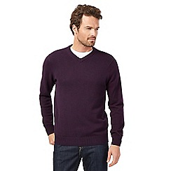 Maine New England - Purple twist V neck jumper