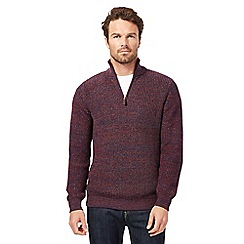 Maine New England - Big and tall purple zip neck jumper