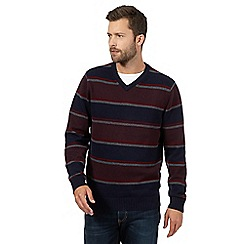 Maine New England - Big and tall dark red block striped v-neck jumper