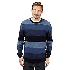 Maine New England - Big and tall blue block striped jumper