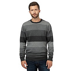 Maine New England - Grey feeder block striped crew neck jumper