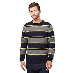 Maine New England - Big and tall yellow block striped jumper