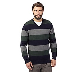 Maine New England - Big and tall green striped v neck jumper