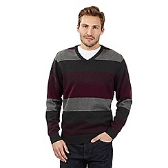 Maine New England - Big and tall maroon block striped jumper