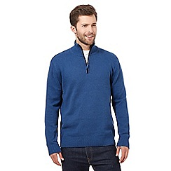 Maine New England - Big and tall blue zip neck jumper