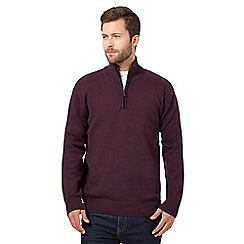 Maine New England - Big and tall dark plum zip neck jumper