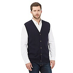 Maine New England - Big and tall navy cotton sleeveless cardigan