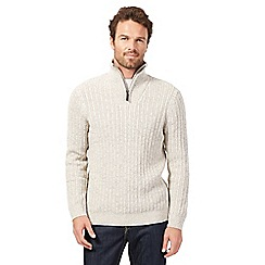 Maine New England - Big and tall white zip neck jumper