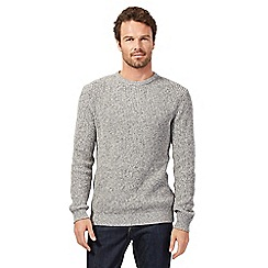 Maine New England - Big and tall light grey chunky knit jumper
