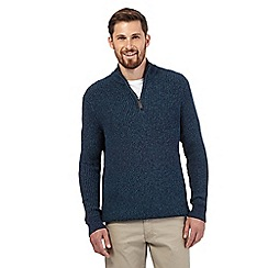 Maine New England - Big and tall green twist zip neck jumper