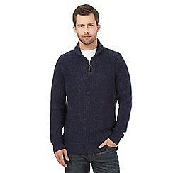 Maine New England - Big and tall dark blue shawl neck sweater