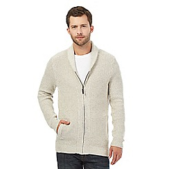 Maine New England - Big and tall natural shawl neck cardigan