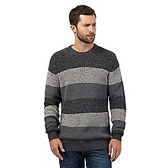 Maine New England - Big and tall grey striped knitted jumper