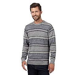 Maine New England - Grey textured fine stripe jumper
