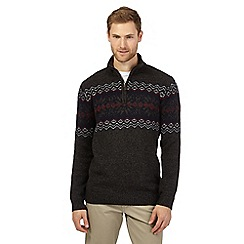 Maine New England - Big and tall dark grey fair isle-inspired sweater