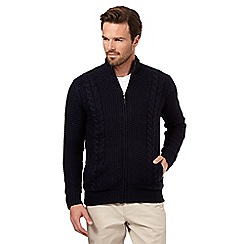 Maine New England - Big and tall navy cable knit jumper