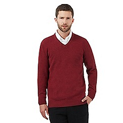 Maine New England - Big and tall dark red V neck jumper