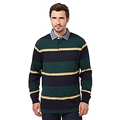 Maine New England - Big and tall green multi striped rugby top