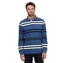 Maine New England - Big and tall blue striped double collar polo top