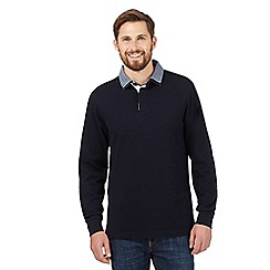 Maine New England - Navy chambray collar rugby shirt