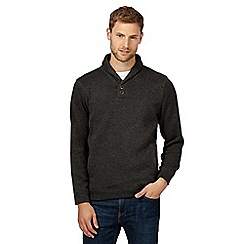 Maine New England - Big and tall dark grey shawl neck jumper