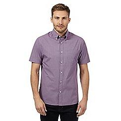 Maine New England - Big and tall plum micro checked shirt