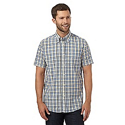 Maine New England - Gold gingham checked short sleeved shirt
