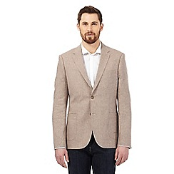 Maine New England - Big and tall light brown textured linen blend herringbone jacket