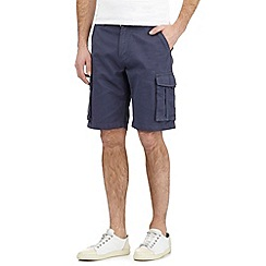 Maine New England - Big and tall blue textured line belted cargo shorts