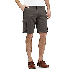 Maine New England - Dark grey textured line belted cargo shorts
